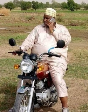 Billionaire Business Man/Airline Operator, Abdulmunafi Sarina, Spotted Riding A Motorcycle In Kano (Photos)